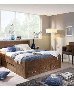 Postel   ISOTTA SON - Postele barva dřeva - Sconto nábytek