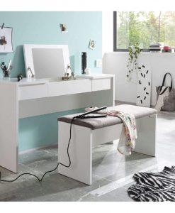 Toaletní stolek s lavicí  LIPSTICK - Stoly a stolky bílá - Sconto nábytek