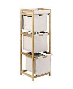Úložný regál   LUX - Koše na prádlo barva dřeva - Sconto nábytek